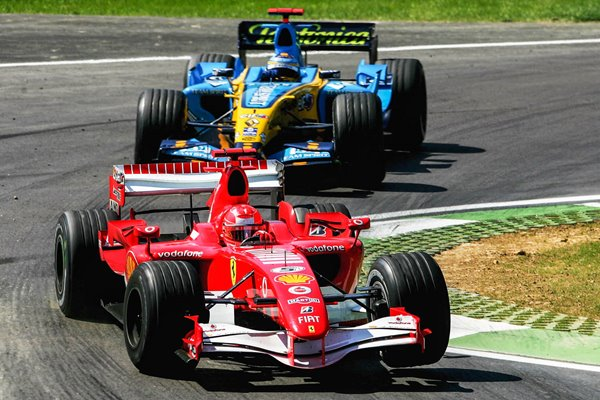 Michael Schumacher leads Fernando Alonso San Marino GP 2006