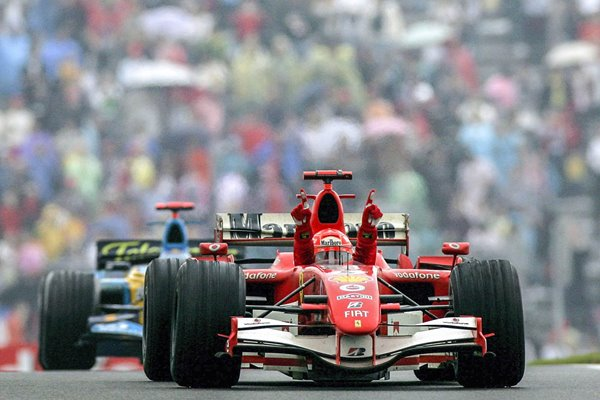 Michael Schumacher Germany & Ferrari wins Chinese GP Shanghai 2006