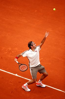 Roger Federer Switzerland serves French Open Tennis 2019