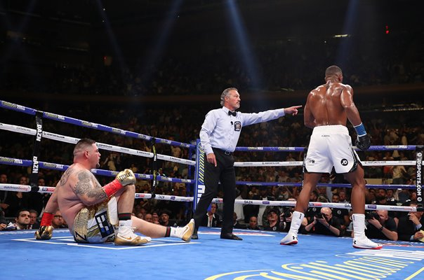 Anthony Joshua knocks down Andy Ruiz Jr. World Heavyweight Fight 2019