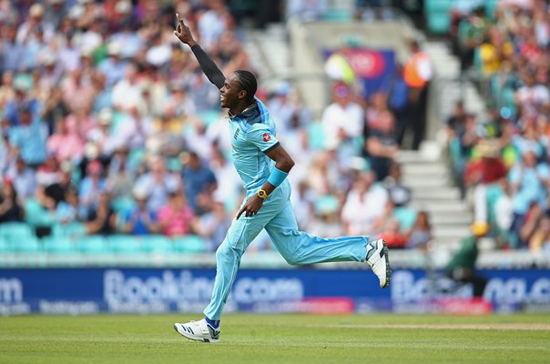 Jofra Archer England celebrates v South Africa World Cup 2019
