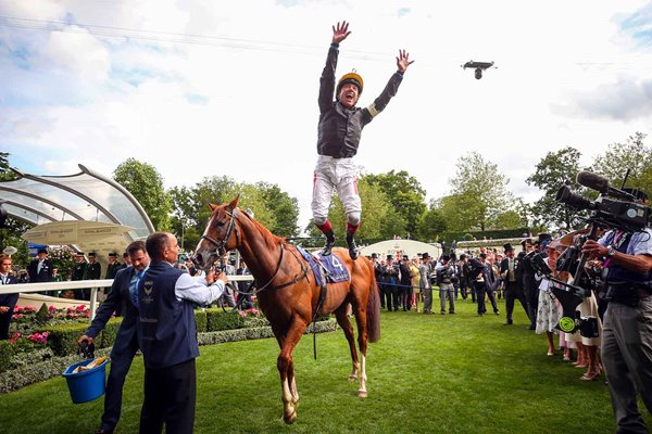Frankie Dettori celebrates Stradivarius win Gold Cup Royal Ascot 2019