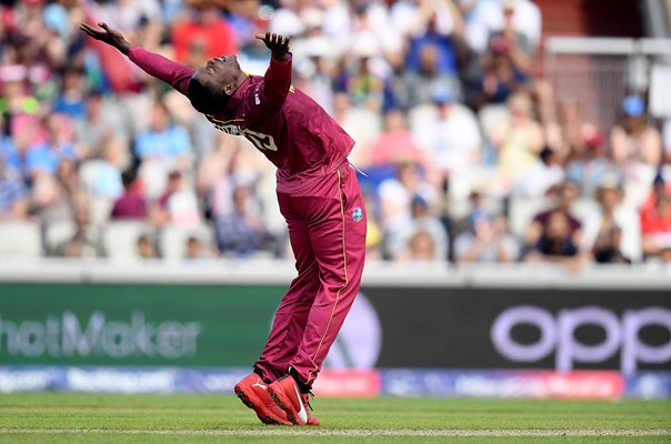 Sheldon Cottrell West Indies celebrates v New Zealand World Cup 2019