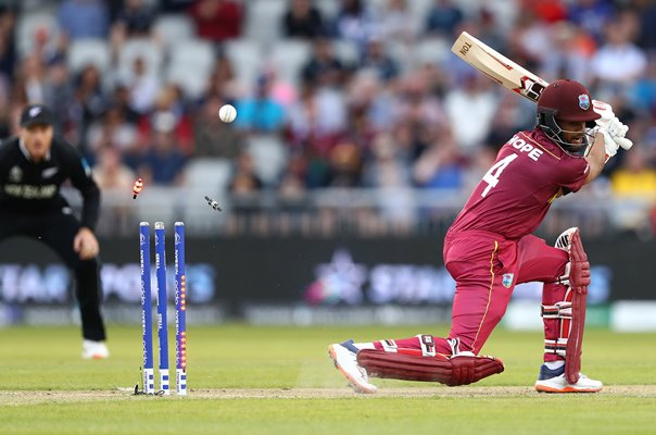 Shai Hope West Indies bowled by Trent Boult New Zealand World Cup 2019