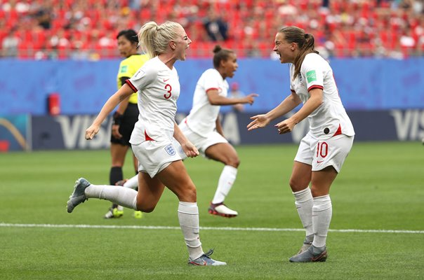 Alex Greenwood & Fran Kirby England celebrate v Cameroon World Cup 2019