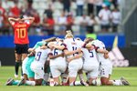 USA Team Huddle v Spain Round of 16 win World Cup 2019 Prints