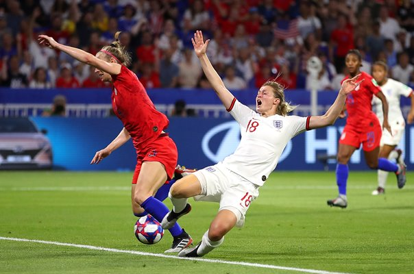 Ellen White England fouled by Becky Sauerbrunn USA Semi Final 2019