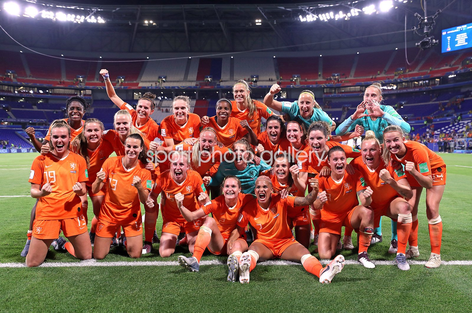 Netherlands celebrate v Sweden Semi Final World Cup 2019