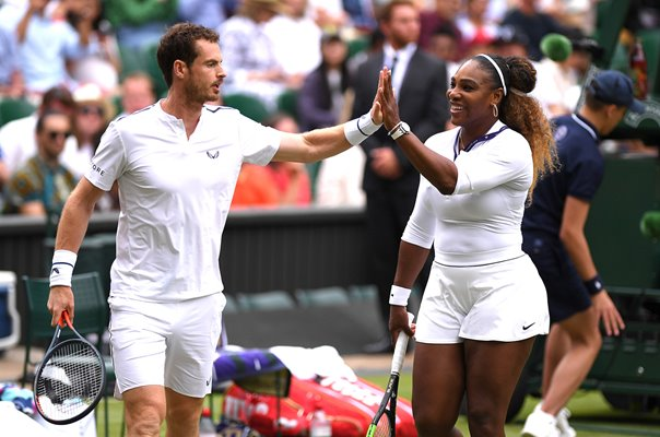 Andy Murray & Serena Williams celebrate Mixed Doubles Wimbledon 2019