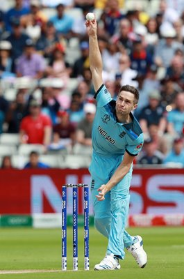 Chris Woakes England bowls v Australia Semi-Final World Cup 2019