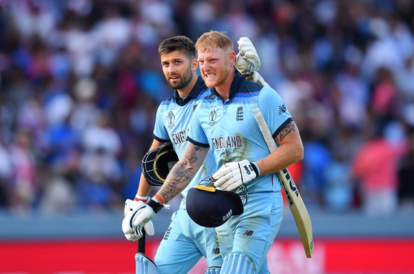 Ben Stokes & Mark Wood England Level Scores World Cup Final 2019