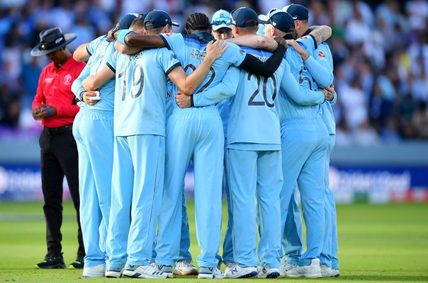 England Super Over Huddle World Cup Final 2019