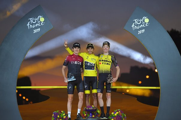 Egan Bernal , Geraint Thomas & Steven Kruijswijk Podium Tour 2019
