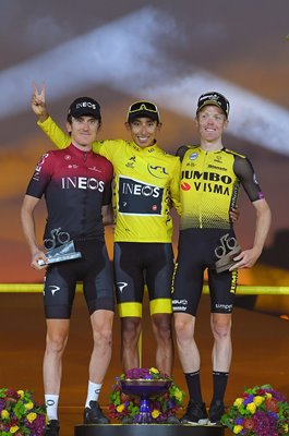 Egan Bernal , Geraint Thomas & Steven Kruijswijk Podium Paris Tour 2019