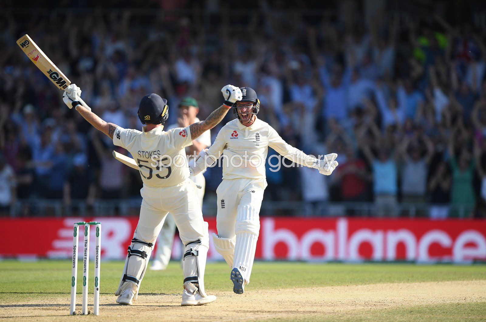Ben Stokes and Jack Leach England v Australia Headingley Ashes 2019