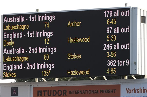 England v Australia Scoreboard Headingley Ashes Test 2019