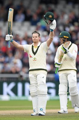 Steve Smith Australia celebrates 200 v England Old Trafford Ashes 2019