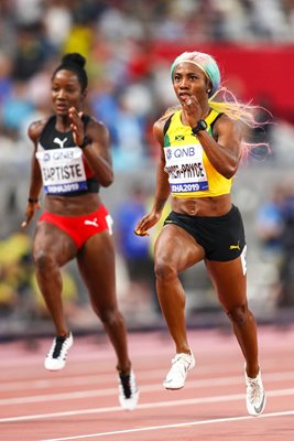Shelly-Ann Fraser-Pryce Jamaica 100m Winner World Athletics 2019