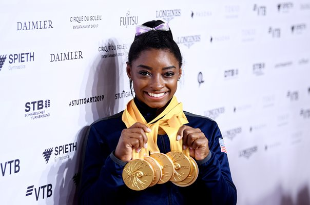 Simone Biles USA Record Gold Medal Winner World Gymnastics History