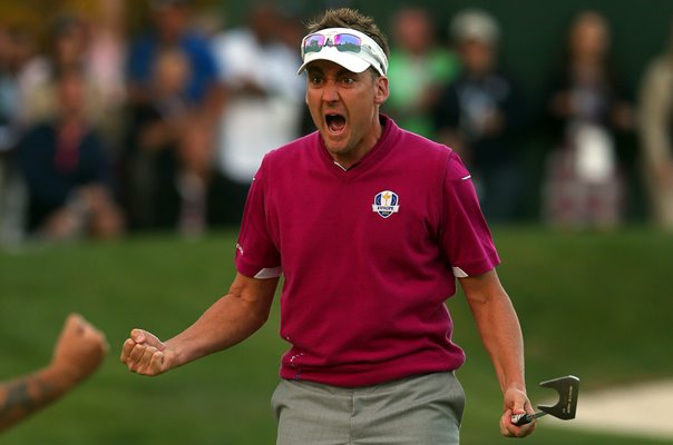 Ian Poulter Europe celebrates Day 2 Four-Balls Ryder Cup 2012