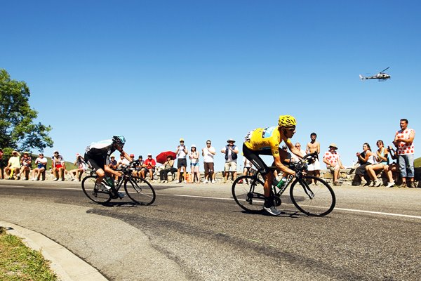 Bradley Wiggins and Chris Froome descend 2012