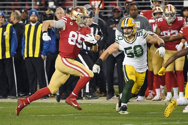 George Kittle San Francisco v Green Bay Packers NFC Championship 2020