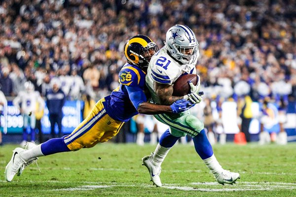 Cory Littleton Rams tackles Ezekiel Elliott Dallas Cowboys NFC Playoff Game 2019