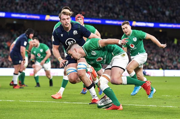 Johnny Sexton Ireland scores v Scotland Six Nations Dublin 2020