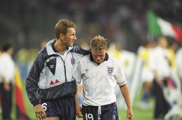 Terry Butcher consoles Paul Gascoigne England v West Germany 1990