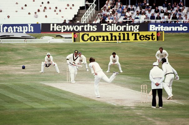 Chris Old England bowls to Rodney Marsh Australia Ashes 1981
