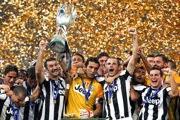 Juventus celebrate with the Italian Super Cup 2012 trophy