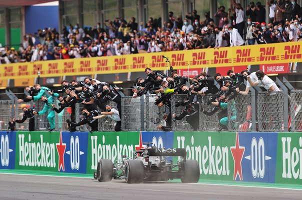Mercedes team celebrate Lewis Hamilton record 92nd Grand Prix win