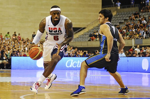 LeBron James USA Basketball action v Argentina Barcelona 2012