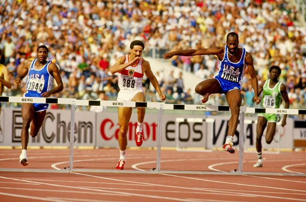 Ed Moses USA leads Danny Harris & Harald Schmid World 400m Hurdles Final 1987
