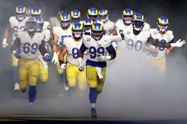 Aaron Donald #99 leads out Los Angeles Rams v Jets 2020