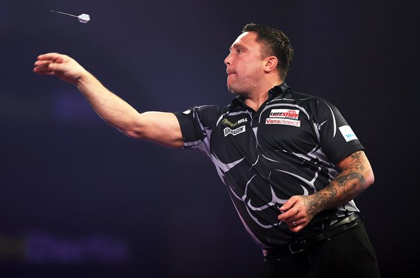 Gerwyn Price Wales action PDC World Darts Final 2021