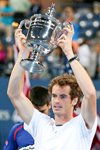 Andy Murray lifts the US Open trophy 2012 Prints