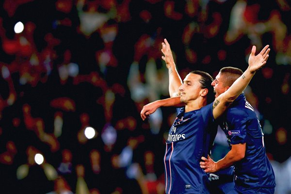 Zlatan Ibrahimovic of Paris Saint-Germain celebrates