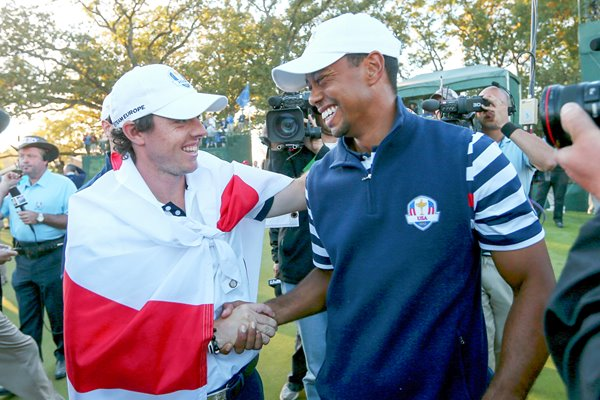 Rory McIlroy and Tiger Woods after Ryder Cup 2012