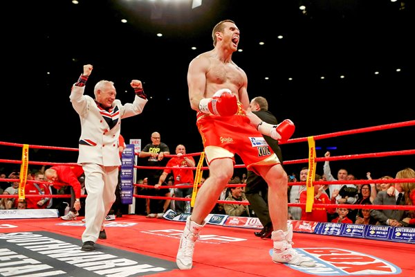David Price celebrates Audley Harrison knock out 2012