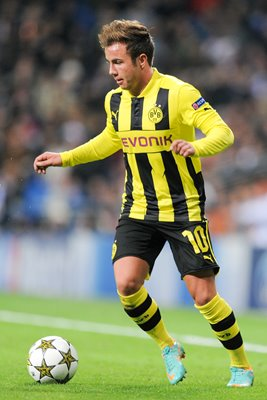 Mario Goetze of Borussia Dortmund in action v Real Madrid
