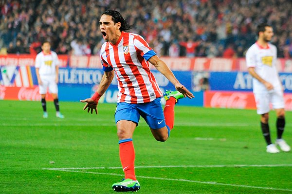 Radamel Falcao of Atletico Madrid celebrates after scoring