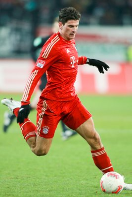Mario Gomez of Bayern in action