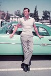 Rock Hudson leaning on car 1955 Prints