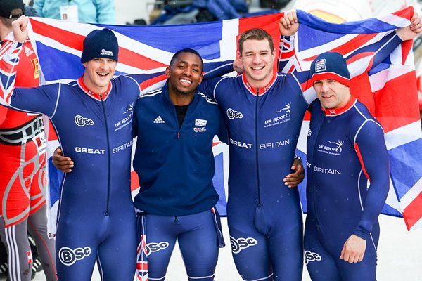 Great Britain Four Man Bobsleigh Team St Moritz 2013