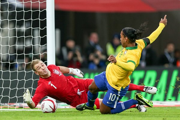 Joe Hart England saves a Ronaldinho penalty Wembley 2013