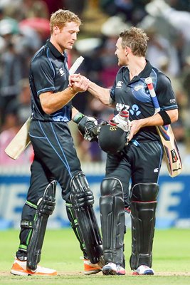 Guptil and McCullum celebrate New Zealand v England 2013