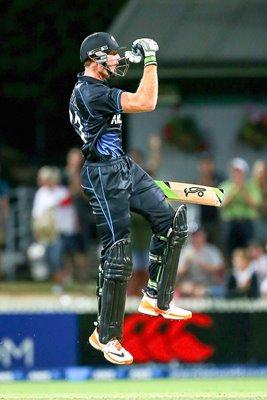 Martin Guptill celebrates New Zealand win v England 2013