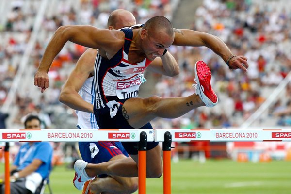 Andy Turner 100m Hurdles action in Barcelona