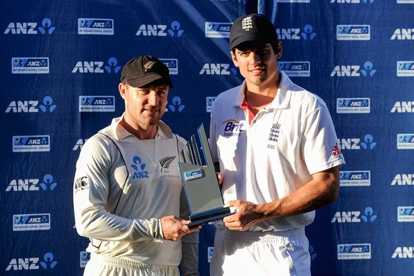 Alastair Cook and Brendan McCullum Test Series Tied 0-0 Auckland 2013